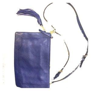 Cobalt blue leather cross-body bag
